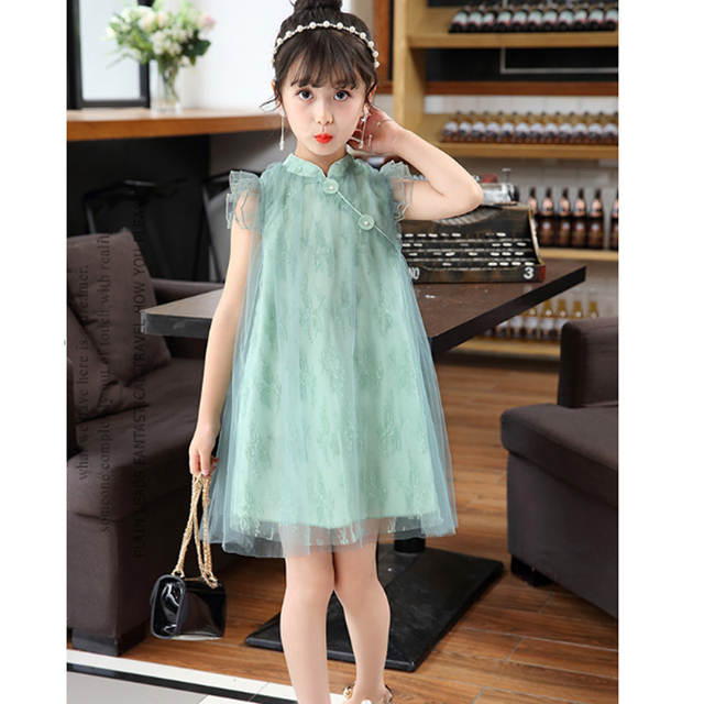dbc5e8ce2 placeholder Mesh Princess Baby Girl Dresses for Party 2018 New Summer  Sleeveless Chinese Style Girls Dress Children