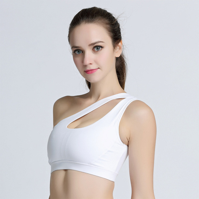 Sexy One Shoulder Fitness Yoga Push Up Sports Bra for Women Gym Running Padded Tank Top Athletic Vest Underwear Sport Bra Top 2
