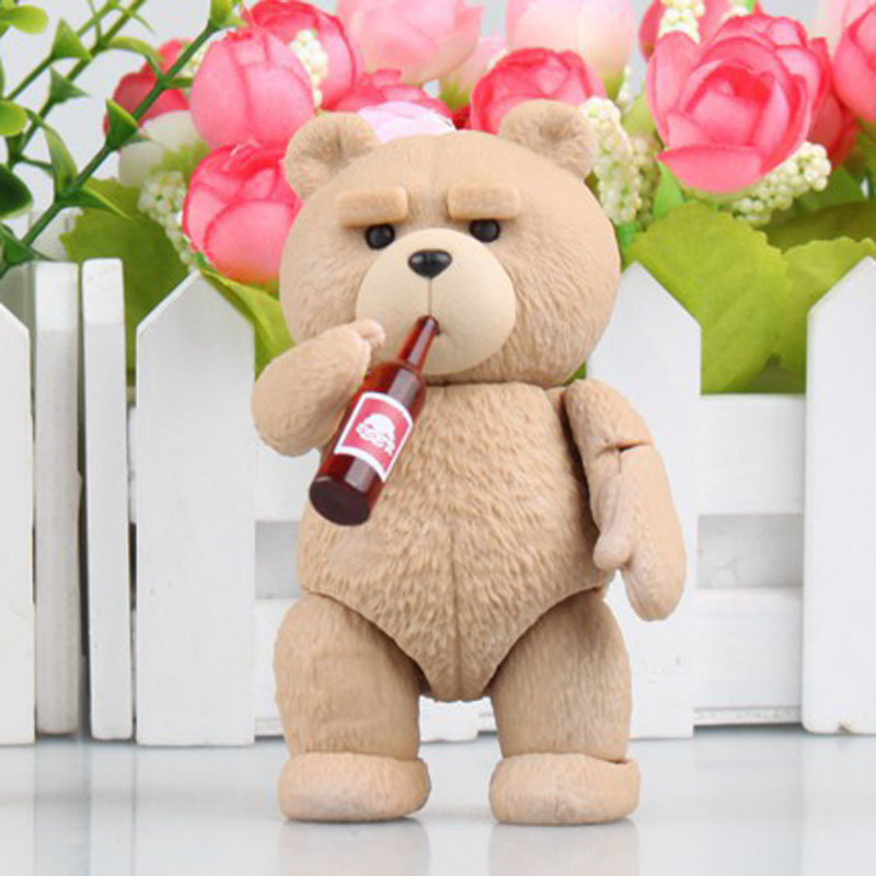Free Shipping 4 Revoltech Anime Movie Ted 2 Teddy Bear Boxed 10cm PVC Action Figure Collection Model Doll Toys Gift funko pop minions king bob cro minion 10cm pvc action figure jouet 1133 brinqudos toys kids gift free shipping