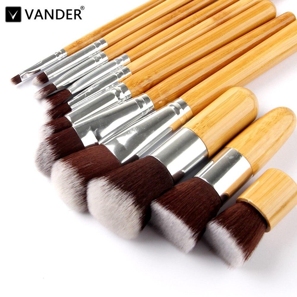 11 PCS Professionnel Bambou Maquillage Pinceaux Fard À Paupières Pinceaux Maquillage Fondation Blush Brosse kits Doux Brochas Maquillaje