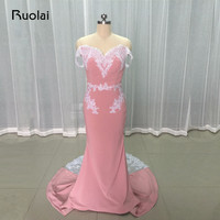 Real Photo Hot Selling Pink Evening Dresses 2017 Off The Shoulder With Sequins Appliques Mermaid Prom