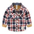 Детская рубашка хлопка с длинными рукавами рубашки Осень Новых Мальчиков Клетчатую Рубашку хлопка с длинными рукавами рубашки 9035