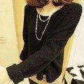 Das 2014 mulheres novas de inverno/outono pullover camisola em torno do pescoço longo-manga batwing solto malha camisola das mulheres 36