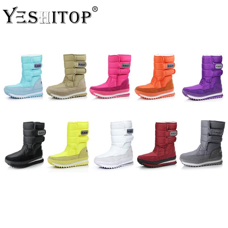 e9346915b7c White Black Blue Mid calf Snow Boots women winter 2018 woman snowboots  girls Waterproof flats botas mujer invierno para nieve