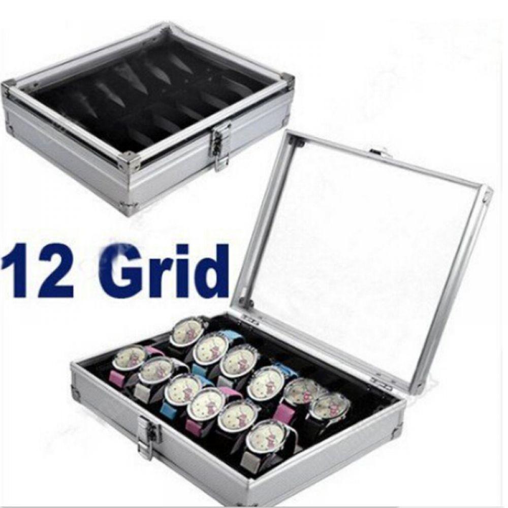 FANALA Uhr Box 12 Grid Slots Uhr Wickler Aluminium legierung Innen Container Schmuck Organizer Uhren Display Lagerung Box Fall