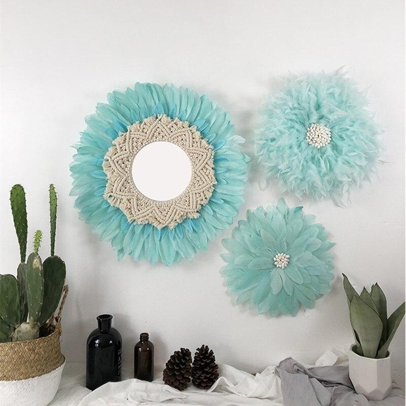 Nordique rond fait main tapisserie plume verre miroir rond mur décoratif miroir Art créatif maison Design d'intérieur R1640