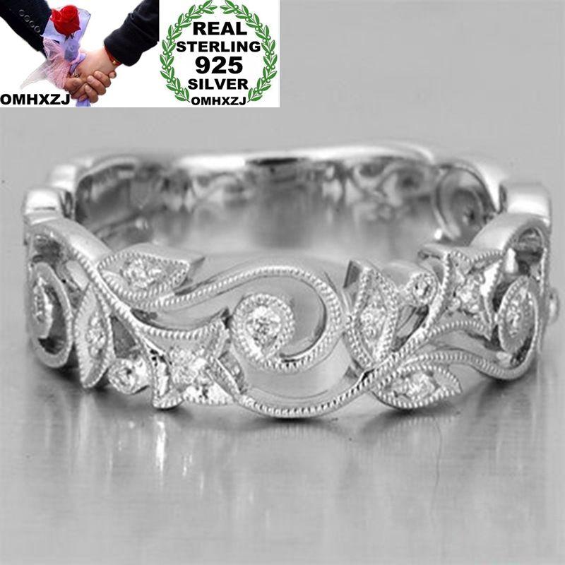 OMHXZJ Wholesale European Fashion Woman Man Party Wedding Gift Silver Hollow Flower AAA Zircon 925 Sterling Silver Ring RR183
