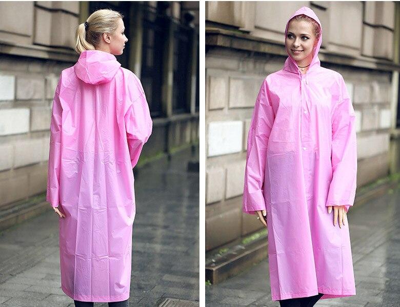 11.Fashion EVA Women Raincoat Thickened Waterproof Rain Coat Women Clear Transparent Camping Waterproof Rainwear Suit Rain jacket_