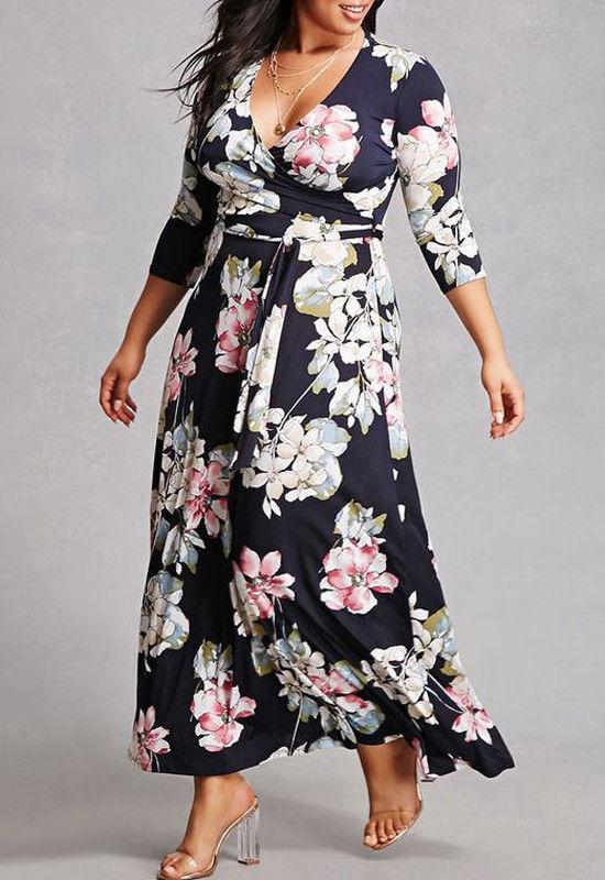 New Plus Size Women Floral Print V Neck Three Quarter Sleeve Boho Long Dress Lady Evening
