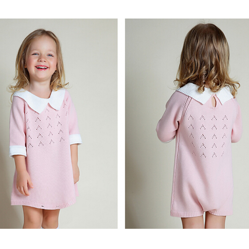 New-2016-Bobo-Chose-Dress-Cotton-Knit-Crochet-Baby-Girl-Romper-Kids-Seven-Sleeve-Jumpsuit-Infant-New-Born-Toddler-Sweater-Dress-3