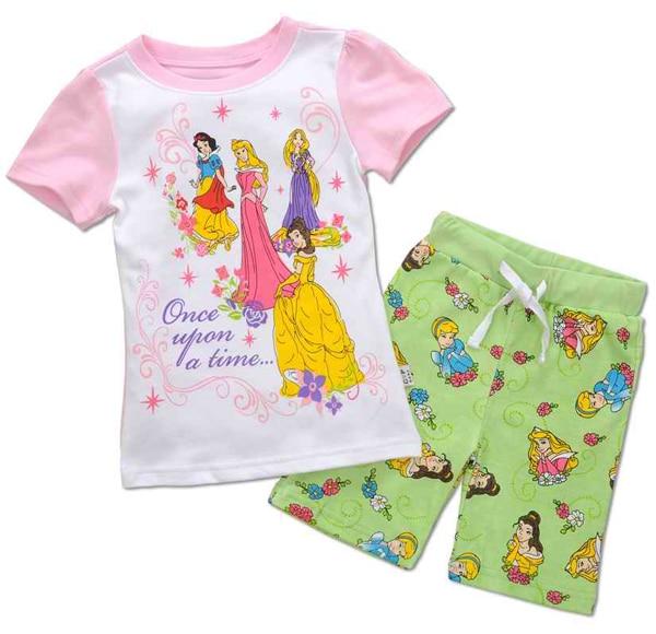 Retail! girl 100% cotton printed princess summer pajamas short sleeve clothing set, homewear