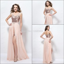 Chiffon Shipping Sexy Straps Beading Sequins Split-Front Column Long Pink Prom Dresses ZH242 Customer made Real samples 2015