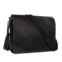 Männer Echtes Wachsöl Leder Vintage Messenger Bag Laptop Taschen Tote 1053L