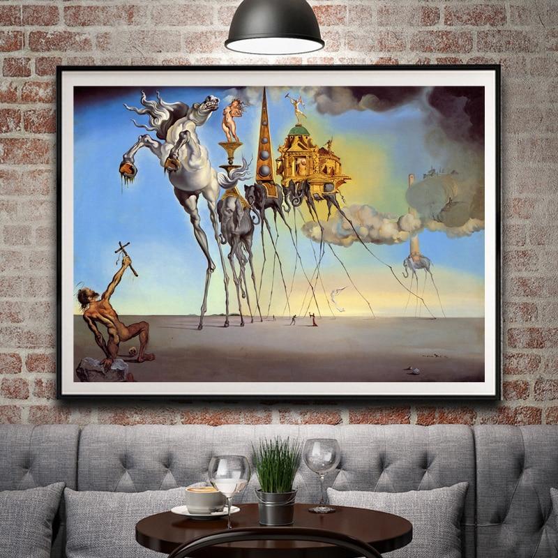 Salvador Dali Fantasy Skull War Clocks Surreal Classic Art Pintura Seda Poster Decor 12x18 16X24 20x30 24x36 Pulgadas Envío Gratis