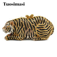 Yellow Animal Tiger Shape Crystal Clutch Evening Bag 8661A G