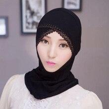 ZFQHJJ женские мусульманские кружевные Стразы под шарф шапочки под хиджаб капот Дамы Стрейч модал хлопок внутренняя исламские хиджабы-шарфы кепки