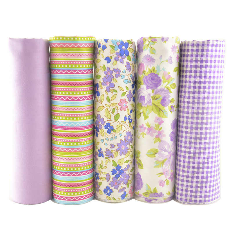 100% Cotton Fabric Patchwork Fat Quarter Bundles Meter For Sewing DIY Crafts Purple 40cmx50cm 5pcs/lot Tissus Telas Teramila