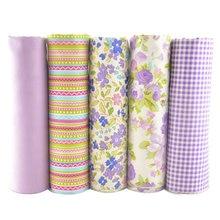 Teramila 100% 綿生地パッチワーク脂肪四半期バンドルメーター縫製 Diy 工芸紫 40 センチメートル x 50 センチメートル 5 ピース/ロット織物博物館 Telas