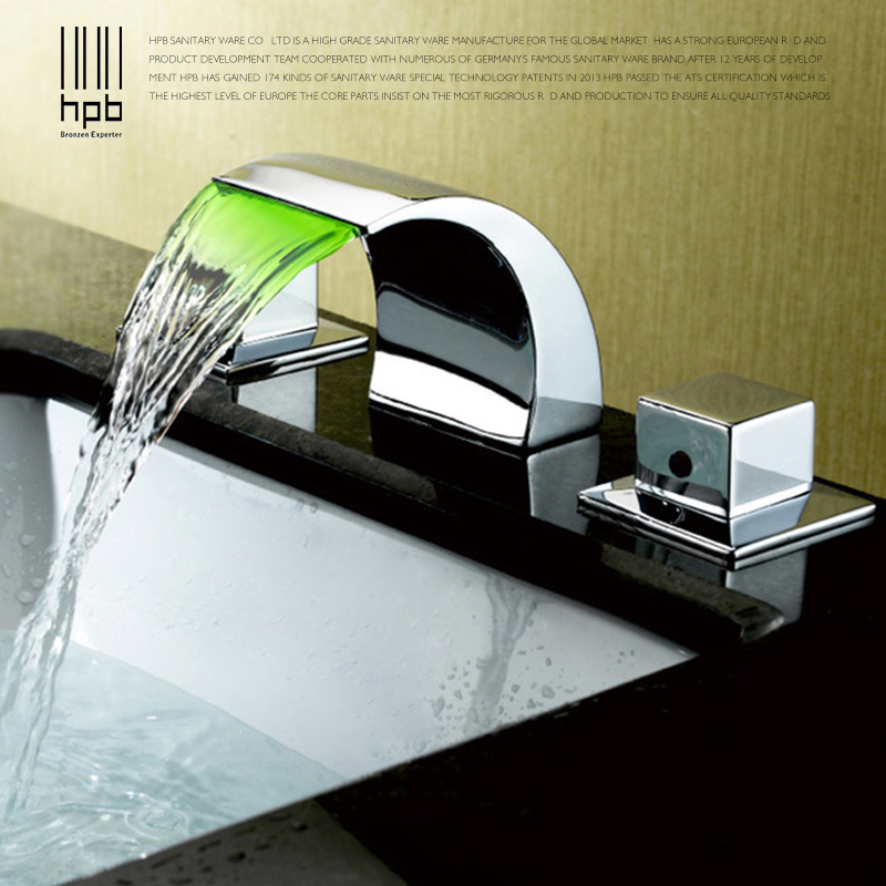 HPB Temperature Controlled Brass Bathroom Basin Faucet LED Mixer Tap Dual Handle Hot And Cold Water Polish Chrome BU-3203 soild brass white painted bathroom tall basin faucet single handle dual control hot and cold water tap torneiras