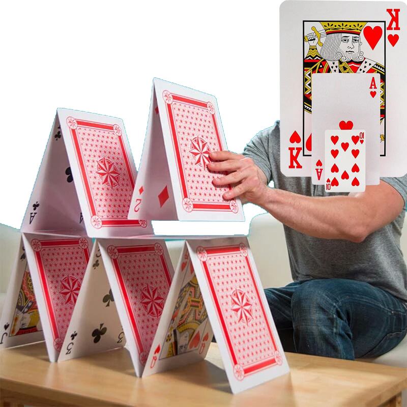 3 Size 2/4/9 Times Super Big Giant Jumbo Playing Cards Full Deck Huge Standard Print Novelty Poker Index Playing Cards Fun Games