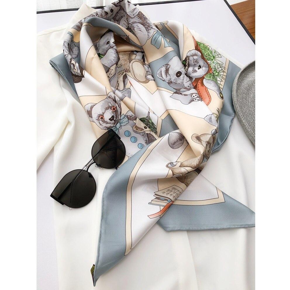 Women Fashion 100% Silk   Scarf   Shawl   Wraps   High Quality Hand Rolled Edges 88*88cm