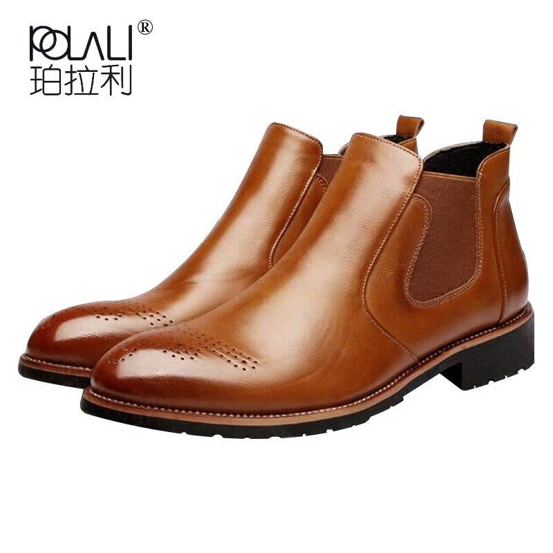 Aggressiv Polali Neue Ankunft Luxus Marke Mann Bequeme Schuhe Männlichen Echtem Leder Männer Cowboy Western Männlichen Chelsea Stiefeletten