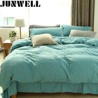 Junwell 100% Musselina De Algodão Fio-tingido Xadrez Jogo de cama Quilt Cover folha de Cama Capa de Edredão folha de cama Queen Fronha Gêmeo 3 pcs set