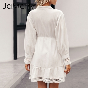Image 4 - JaMerry Vintage ruffle mini white lace cotton dress Elegant lantern sleeve hollow out highstreet short dress Autumn chic dresses
