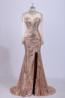 Luxury Crystal Mermaid Prom Dresses High Neck Side Split Evening Dresses Sheer Sequined Long Sleeves Illusion