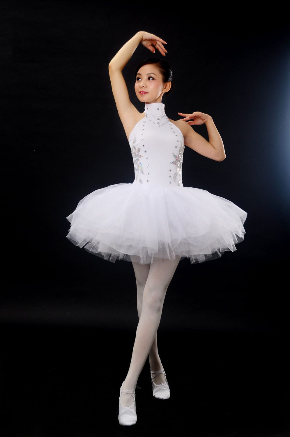 Free Shipping Girls Ballet Tutu Dance Clothes White Elegant Classical Swan Lake Costume For Adults Diamond Stage Ballet Costumes