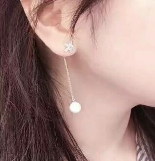 Bijoux de mariée livraison gratuite sellhot chaude vente 925 mode belle blanc cristal étoile à Cinq branches et perle Bijoux boucles d'oreilles