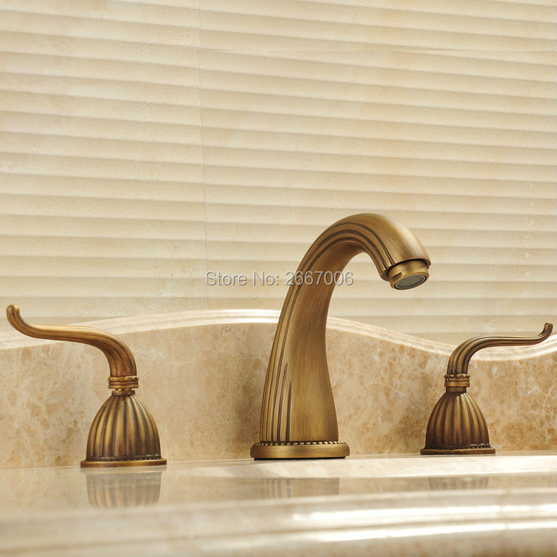 Free shipping Newly Design Three Holes Bath Tub Basin Faucet Antique Bronze Finish Hot And Cold Mixer Water Tap Bathroom GI133