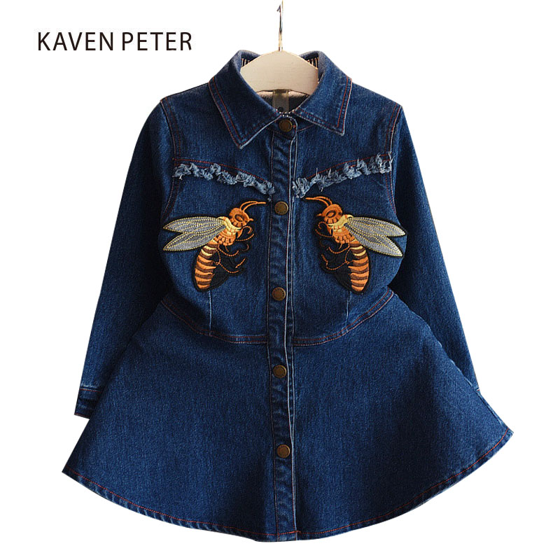 2018 Autumn Denim dress girl Long Sleeve jeans dress for children Denim Blue kids Casual Dress Bee embroidery patterns 2-5Y flounce sleeve eyelet embroidery dress