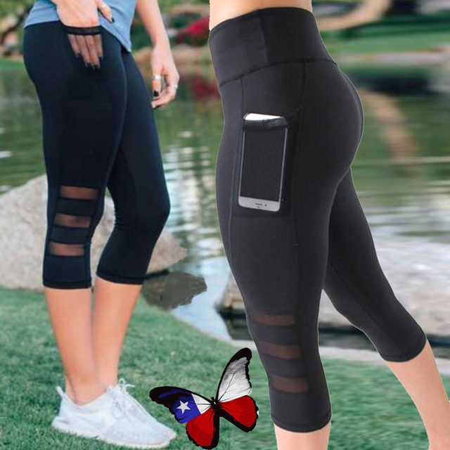 0546026ddd Women Sport Leggings With Pockets High Elastic Workout Fitness Leggings  Seamless Breathable Short Running Tights Jogger