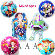 6pc toy story balloons 18inch cartoon foil balloons woody Buzz Lightyear birthday balloons for party supplies