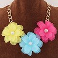 Costume Jewelry Bohemian Choker Statement Necklace Collier FemmeThree Flower Necklaces & Pendants Maxi Necklace Women Collares