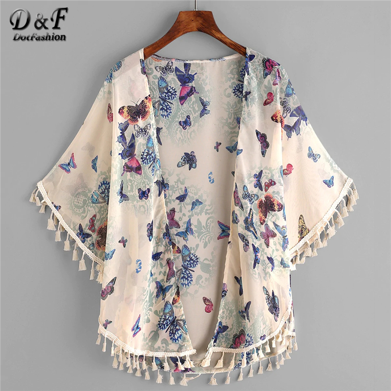 Dotfashion Butterfly Print Fringe Trim Top Kimono Womens Tops And Blouses 2019 Summer Casual Beachwear Short Sleeve Kimonos