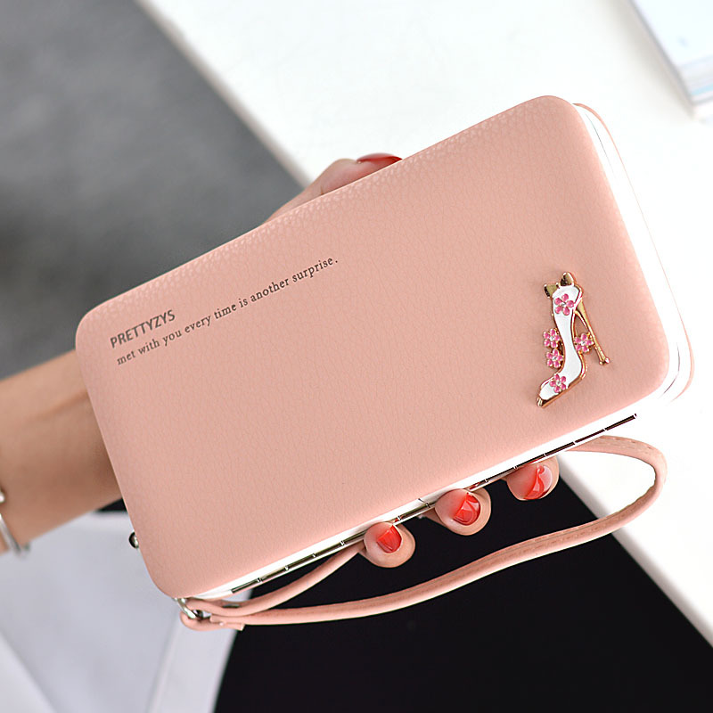 2017 Women Lunch Box Wallet Fashion Long Design High Heel Shoes Wallet Ladies Wrist Strap Coin Purse Large Capacity  Wallet aosbos fashion portable insulated canvas lunch bag thermal food picnic lunch bags for women kids men cooler lunch box bag tote