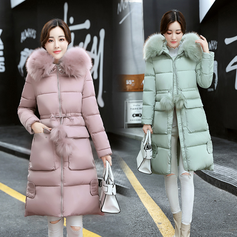 2017 Free Shipping Autumn Winter Big Fur Collar Jacket Slim Coat Women Work Wear Fashion Coats Green Gray Black 2017 free shipping new autumn winter long down big fur coat padded slim women fashion high street coats