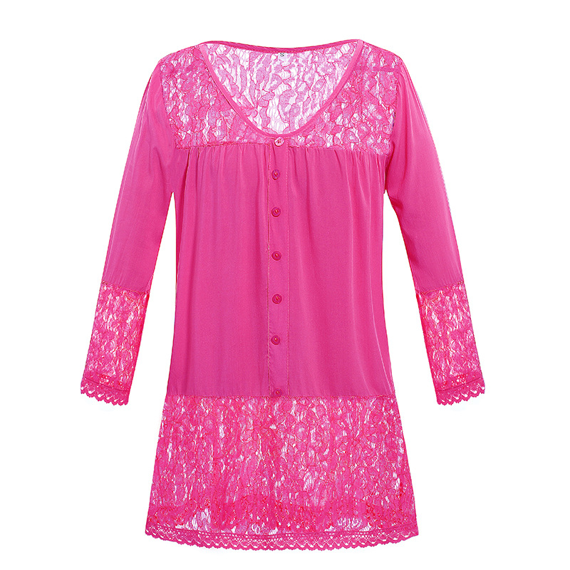 Camisa Recortado blanco Botones Ocio pink púrpura Grandes 4xl 5xl Orange negro Larga Encaje Tamaño Dulces Costura Mujeres Manga azul V Tallas Camisas Blusas verde Cordón Del Más cuello n7pYqwz7