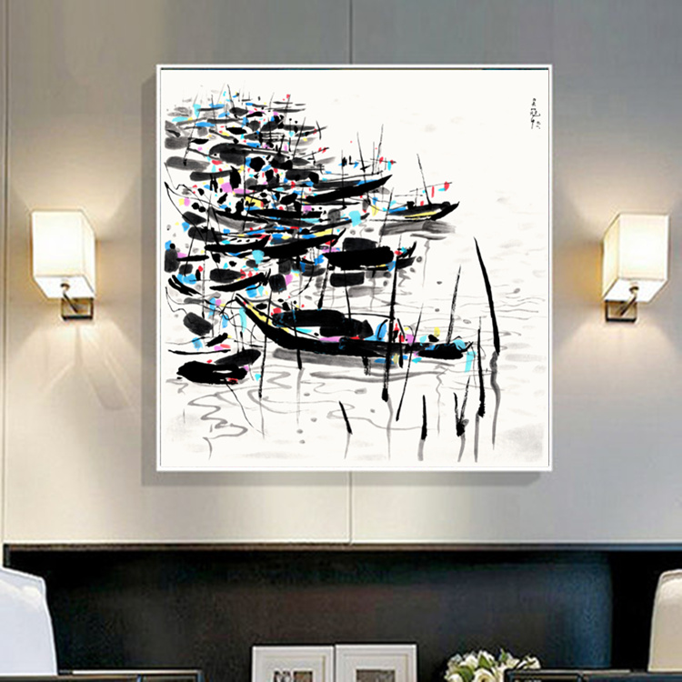 Wu Guanzhong Chinese Impression Landscape Wall Art Painting HD Print Picture on Canvas Home Decoration Living Room