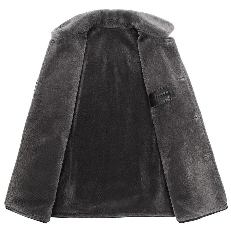 Men s leather Jacket wool interior 2016 New Dusen Klein Genuine sheepskin wool collar Middle long Men's leather Jacket wool interior 2016 New Dusen Klein Genuine sheepskin wool collar Middle long Designer male coat 61Z16017
