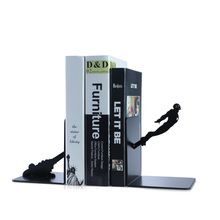A Pair Creative Black iron  Metal Bookend Shelf Bookend Holder Office School Supplies Stationery Gift Home decoration