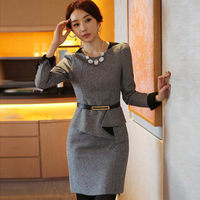 2015 Autumn And Winter Woolen Dress Fake Two Piece Dresses Slim Was Thin Large Size Women
