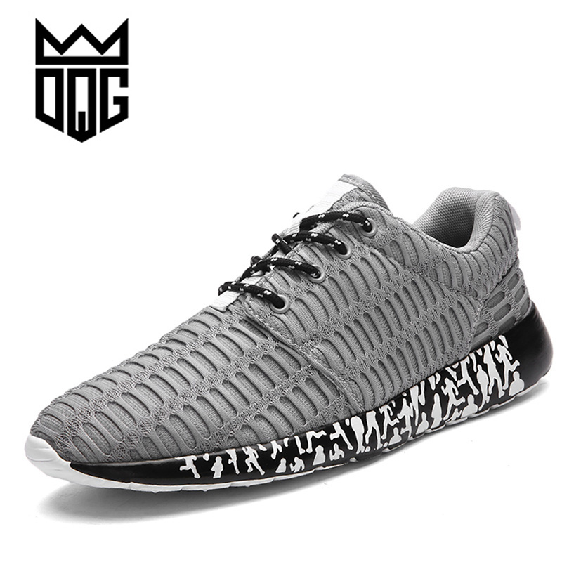 DQG Big Size Mens Running Shoes Breathable Mesh Male Light Running Sports Shoes Flat Jogging Sneakers Outdoor Athletic Trainer