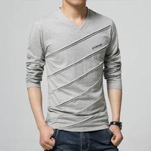 BROWON Fashion Trend Autumn T Shirt Men V Collar Long Sleeve T-Shirt Large Size Slim Fit Cotton Tops Tees Camisetas Male