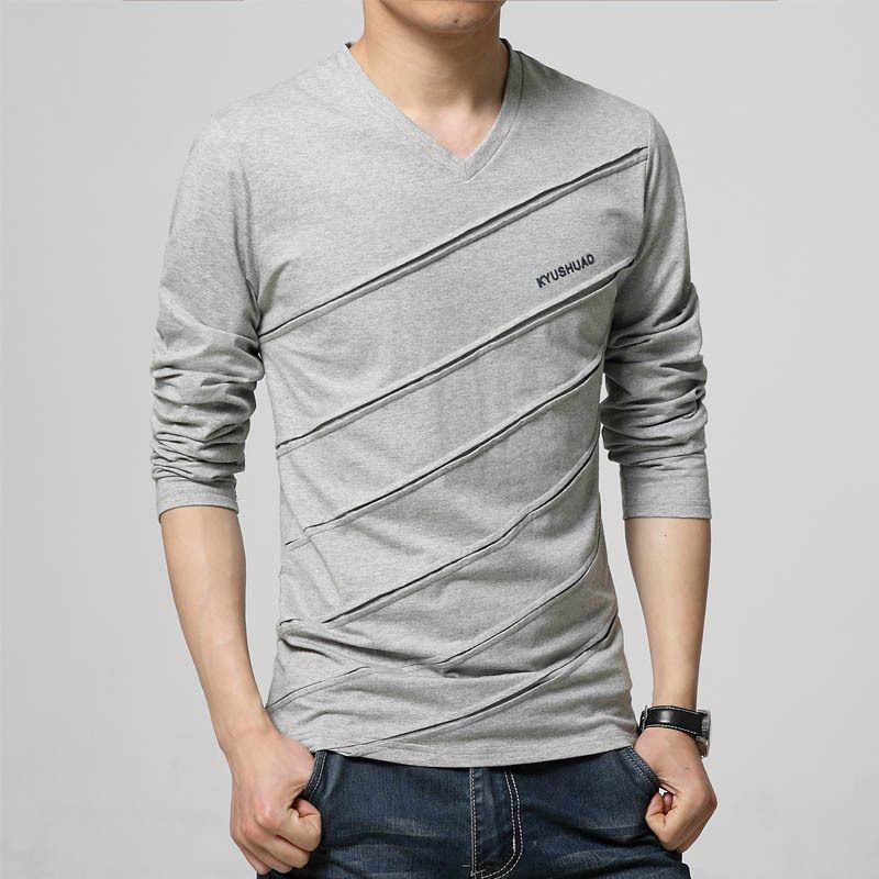 BROWON אופנה מגמת סתיו T חולצה גברים V צווארון ארוך שרוול חולצה גודל גדול Slim Fit כותנה חולצות Tees Camisetas זכר