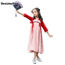 2019 new china girls hanfu dress folk dance costumes for kids traditional ancient chinese costume classical tang clothes new arrival chinese traditional dance costumes children kids tang folk dance costumes modern national chiffon hanfu for girls