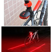 Bicycle LED Tail Light Safety Warning 2 Lasers 3 Modes Bike  Waterproof Taillight Accessories