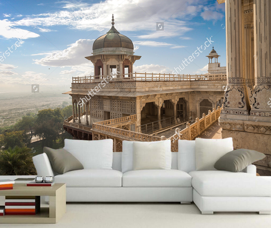 Custom city natural landscape,Agra Fort musamman burj dome with moody sky,photo for living room bedroom background wallpaper trees of agra